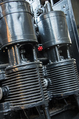 "Air Compressors on ""Peggy,"" a Lima Shay Geared Steam Locomotive (SN 2172) (scattered1) Tags: 1909 2015 2172 air center classb ehraim ephraimshay limalocomotiveworks limashay or oregon portland shay shopnumber2172 truck washington washingtonpark world worldforestrycenter aircompressor antique balloon classic compressor engine forestry geared gearedsteamlocomotive historic history locomotive oil old park powerful rail rugged steam timber train trees wood"