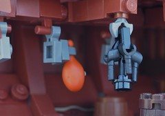 The lantern swung back and forth... (W. Navarre) Tags: pirate lego ship interior wreck ruined all scene lantern meat hang n hanging barrel