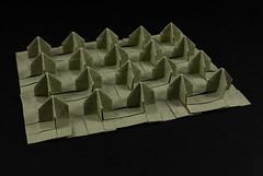 Bed of nails 3D (origami) (Michał Kosmulski) Tags: origami tessellation bedofnails nails spikes sharp pointed pointy yoga yogi bed board elephanthidepaper michałkosmulski grey gray beige wetfolding