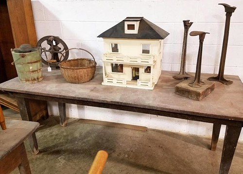 Homemade Wooden Dollhouse ($78.40) and Walnut 3 board top farm work table from old Staunton, Virginia estate with original dry surface and wooden peg construction ($212.80)