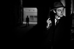 NOIR VII (giladvalkor) Tags: noir suit hat blackandwhite bw monochrome alley 1940s 1950s darkphotography shadows night creepy scary man people portrait gun revolver silhouette contrast