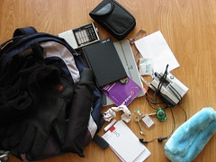 What's in my bag (Nick J Adams) Tags: radio bag notebook keys diary hipsterpda whatsinmybag pencilcase tapeplayer computerbag