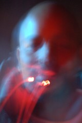 Smoker of the night (LaLoux) Tags: street blue portrait sr189 man blur painting ft smoker sirens photodomino234