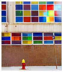 Rainbow Fire Hydrant 2 (stOOpidgErL) Tags: street city windows color window wall hydrant wow rainbow colorful downtown detroit vivid synagogue stainedglass 100v10f firehydrant brickwall oneway streetscape urbex onewaysign stainedglasswindows crazycolor urabn stoopidgerl