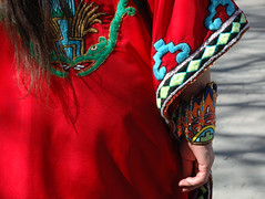 hand (Mary Hockenbery (reddirtrose)) Tags: red woman newmexico southwest hand dress ceremony dancer serpent taos cuff beaded aztecdancer grupotlaloc