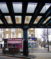 Camden Road #1 (Fin Fahey) Tags: city uk greatbritain england urban london geotagged rust europe unitedkingdom britain camden eu innercity camdentown europeanunion sauna railwaybridge nw1 camdenroad northlondon capitalcity innerlondon touchofclass royalcollegestreet finfahey