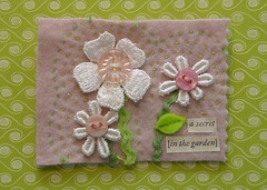 quiet-secret (bluegirlxo) Tags: flowers collage embroidery buttons woolfelt fabricbook