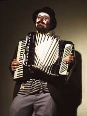 Clown with a Squeezebox (Linus Gelber) Tags: nyc newyork topv111 clown performance accordion burlesque redhots rififi redhotsburlesque donniedrunko