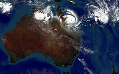 Cyclone Larry as seen via Earthbrowser - by davesag