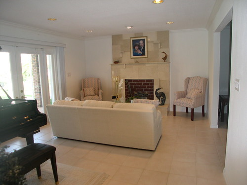 Family room with marble fireplace and french doors to pool patio,house, interior, interior design