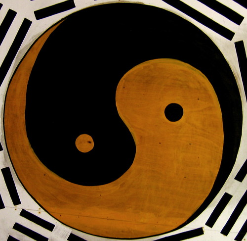 brown and black yin and yang symbol representing paradox