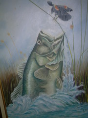 Fish after Black Bird (ann_blair2003) Tags: fish bird art painting artwork bass splash oilpainting