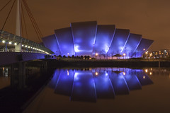 SECC and Bridge 2 (ajnabeee) Tags: longexposure bridge reflection water architecture river scotland riverclyde clyde long exposure glasgow overpass concerts secc armadillo exhibitioncentre lovephotography