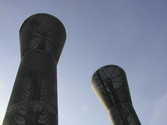 faux smokestacks (massdistraction) Tags: park minnesota playground spring warm stpaul sunny bluesky lookingup twincities saintpaul harrietisland unseasonablywarm fauxsmokestacks