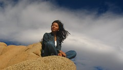 Heidi @ Jumbo Rocks (Heidi & Matt) Tags: california woman girl female heidi happy model rocks peace wind inspired happiness zen chic spiritual jumbo breathing ontop atpeace relazed heidimatt