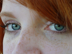 Red 03 (Cathryn's Gallery) Tags: blue woman girl face female portraits catchycolors sony blueeyes cybershot freckles redhair