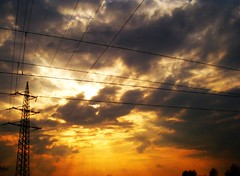 powerlines (Yves.) Tags: sunset sky clouds powerlines sunbeams