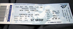 Bluejays tickets.  Photo by shareski.