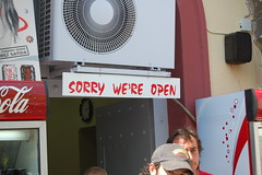 sorry we're open (t i g) Tags: travel sign turkey istanbul kindel charliekindel photo365 turkishtoenglish photo365kindel