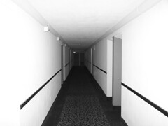 Black and white corridor (Neil101) Tags: blackandwhite bw white black philadelphia america hotel interesting doors perspective corridor neil spooky most shining wilkinson neilwilkinson neil101