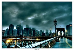 Dark City - from the Brooklyn Bridge (Arnold Pouteau's) Tags: nyc newyorkcity sunset newyork clouds downtown manhattan brooklynbridge gotham hdr nyc10