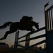 Silhouette of Horse Rider Jumping Over Obstacles, Indian Army