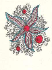 sketch #6 (M%n) Tags: blue red black flower sketch blauw monica rood zwart bloem cirkel schets