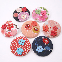 Blossom badges (Leslie Y.) Tags: japanese buttons fabric badges
