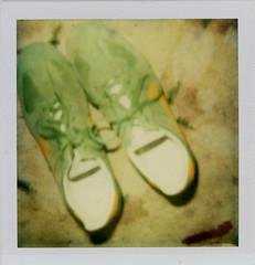 shoes and carpet (flybutter) Tags: green yellow polaroid 600 greenshoes onestep ilovegreen heatdamagedinthetoasteroven
