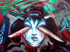 Kabuki Gone Bad (See El Photo) Tags: street girls 15fav streetart art wall 510fav wow graffiti blood alley paint pair melrose kabuki spraypaint walls bloody swords cbs alleyart 1f faved 222v2f 111v1f cbscrew girlsonwalls seeelphoto doubleswords pairofswords chrislaskaris