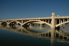Salt River Bridges, Tempe - Phoenix, Arizona (Thad Roan - Bridgepix) Tags: travel bridge arizona phoenix river photo arch crossing desert photos bridges arches historic saltriver span tempe millavenue bridging maricopacounty nationalregisterofhistoricplaces nrhp bridgepixing 200603 tempebridge bridgepix bridgeblog 81000137