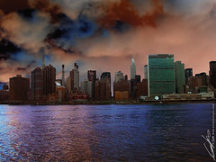 ominous new york city skyline (atomicshark) Tags: city nyc newyorkcity sky newyork nature water skyline architecture clouds buildings river dark island skyscrapers ominous manhattan unitednations eastriver mysterious manmade empirestatebuilding chryslerbuilding atomicshark