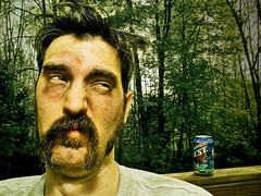 Now I go out alone if I go out at all (wiseacre photo) Tags: trees portrait beer face outside can moustache wiseacre temptation disgust whitetrash hick paularmstrong