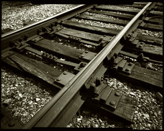 Sepia Railroad Pinhole - by Voxphoto