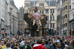 An Elephant On Haymarket (MykReeve) Tags: street people elephant building london face buildings audience crowd ears trunk haymarket tusks tusk londoners royaldeluxe sultanselephant thesultanselephant