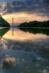 The Washington Monument and U.S. Capitol (Foto Blitz Color) Tags: travel reflection monument water clouds sunrise dawn dc washington top20sunrisesunset capital lookatme hdr naturesfinest scoreme nikonstunninggallery