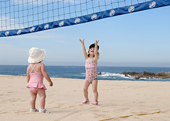 how about a little game of beach volleyball? (sesame ellis) Tags: girls vacation playing beach kids children mexico fun kid cabo child mykid notmykid frombehind volleyball toddlers theonewhomoved tc58vacation