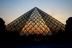 Louvre at sunset. (fotogeneric) Tags: blue sunset sky orange paris france museum pyramid louvre pei lovre louvrepyramid