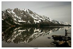 Reflection (Arnold Pouteau's) Tags: lake snow nationalpark hiking may teton tetons reflexion grandteton f25 jennylake