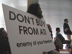 Protest against ATI nearly led to the arrest of RMS  Protest against ATI nearly led to the arrest of RMS (phauly) Tags: sign silent protest rms richardstallman ati stallman freesoftware silentprotest