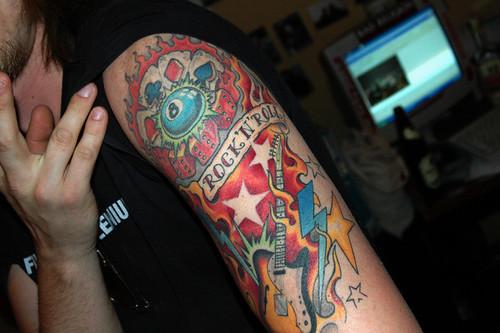 Jacek's cool Tattoo, Rock'n'Roll!!!! Jacek is member of the Rock'n'Roll band