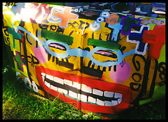 HP '98 car hood in the hood (stOOpidgErL) Tags: green art smile analog project painting glasses hp junk paint kodak detroit kitsch 98 grin hood redlips 1998 lime kitschy analogphotography artinstallation kodakfilm carhood heidelbergproject colorfilm guyton tyreeguyton stoopidgerl outdoorartinstallation hoodinthehood