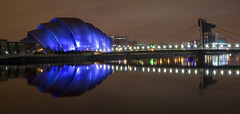 Glasgow SECC and Footbridge (ajnabeee) Tags: longexposure reflection water architecture river scotland riverclyde clyde long exposure glasgow best concerts favourite secc armadillo exhibitioncentre commentsbest