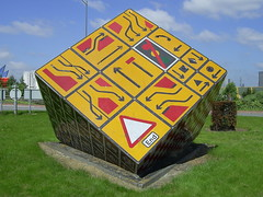 """The Magic Roundabout"", Cardiff (Richard and Gill) Tags: sculpture sign yellow wales roundabout cardiff streetsigns roadsigns welsh magicroundabout trafficsigns vivant pierrevivant deadstreetsigns"
