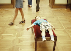 Sleeping child in museum