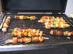 Tempeh kabobs on the grill.  Photo by mache.