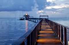 Fisheye pier in Guam (Willshoot) Tags: ocean lighthouse seascape water night pacific fisheye guam nikonstunninggallery