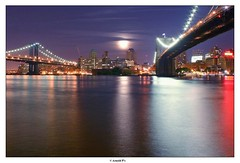 Night Call (Arnold Pouteau's) Tags: nyc newyorkcity bridge moon newyork reflection brooklyn night manhattan