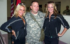 Ashlyn, Bethany, and I in Afghanistan ...  New Orleans Saints cheerleaders :) (violinsoldier) Tags: girls afghanistan hot beautiful soldier army football women war cheerleaders neworleans nfl saints smoking terrorism hotties cheerleading smokin hotness americanfootball saintsations