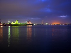 Hachinohe port by night.